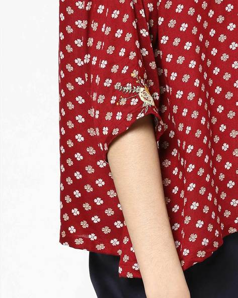 Printed Top With Patch Embroidery By AJIO ( Red )
