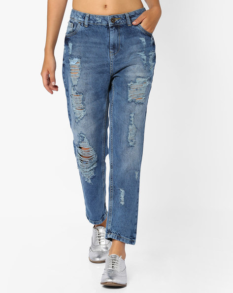 Heavily Distressed Boyfriend Jeans By Ginger By Lifestyle ( Blue )