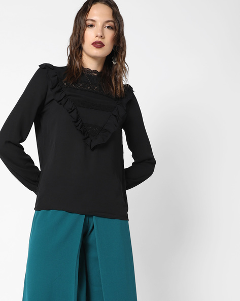 Ruffled Top With Lace Inserts By Evah London ( Black )