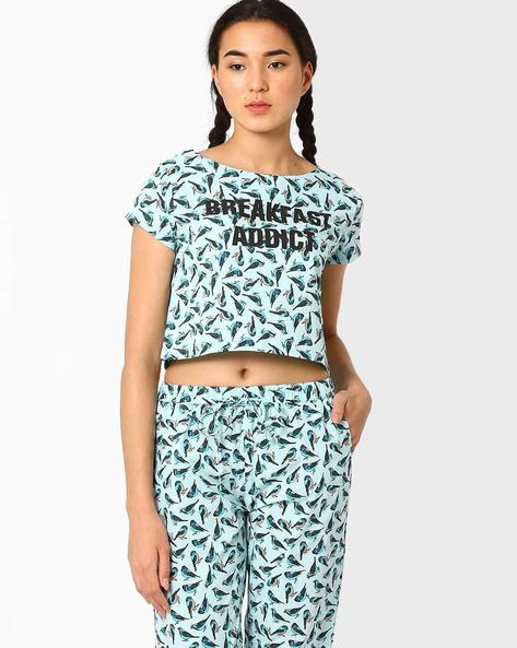 Printed Lounge Crop Top By AJIO ( Aqua )