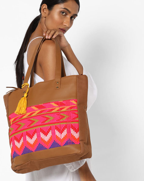 Jacquard Tote Bag By Kanvas Katha ( Tan )
