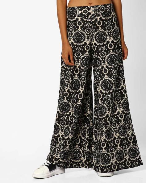 Printed Palazzos With Elasticated Waistband By Desi Weaves ( Black )
