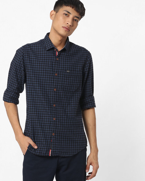 Slim Fit Checked Shirt With Patch Pocket By The Indian Garage Co ( Blue ) - 460191600005