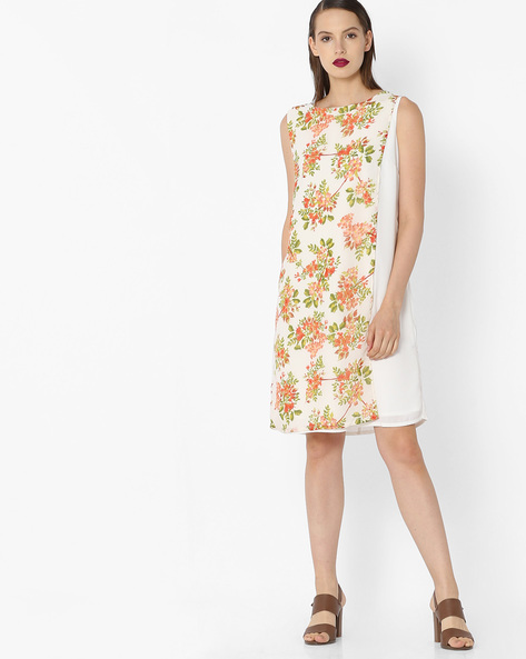 Sleeveless Dress With Floral Print By Project Eve WW Evening ( Offwhite )
