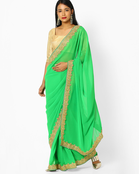 Designer Poly-Georgette Saree By Viva N Diva ( Green )