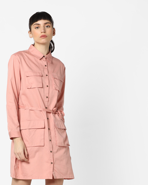Shirt Dress With Flap Pockets By AJIO ( Rose )