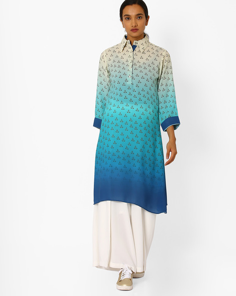 Digital Print Ombre-Dyed Kurta By Bannos Swagger ( Blue )