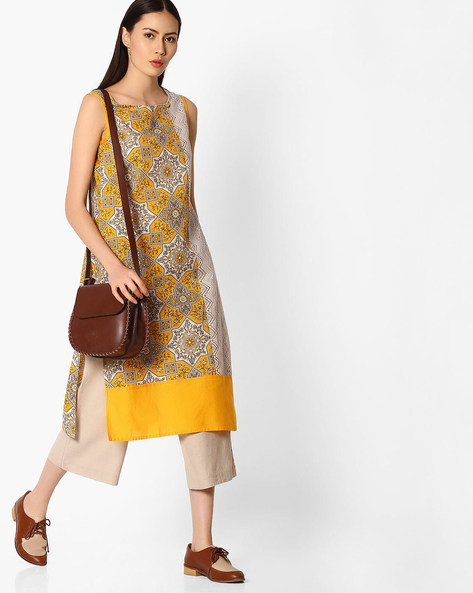 Straight Kurta With Printed Panels By AVAASA MIX N' MATCH ( Yellow )