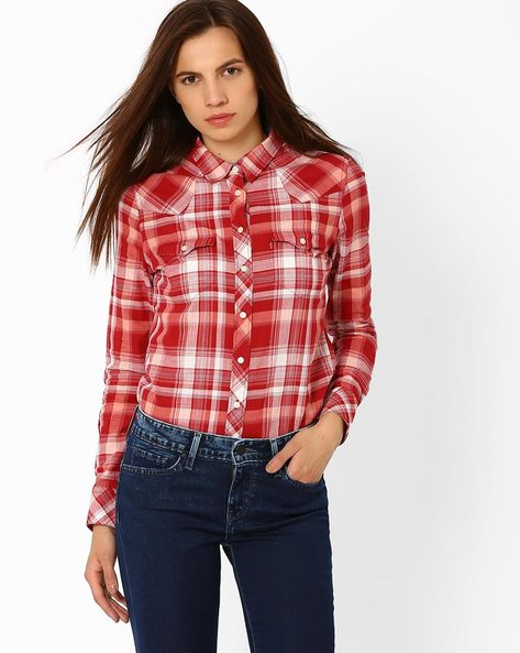 Plaid Shirt With Flap Pockets By LEVIS ( Red )