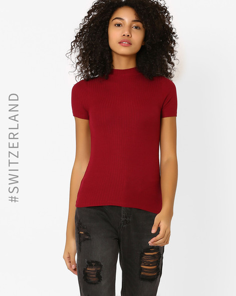Knitted High-Neck T-shirt By TALLY WEiJL ( Red )