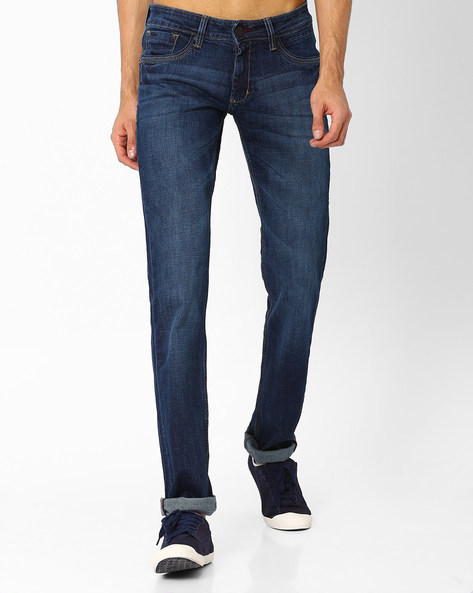 Drift Fit Low-Rise Stretch Jeans By BASICS ( Navy )