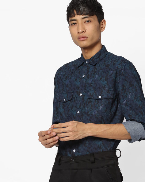 Slim Fit Printed Shirt With Cutaway Collar By Blue Saint ( Dkblue )