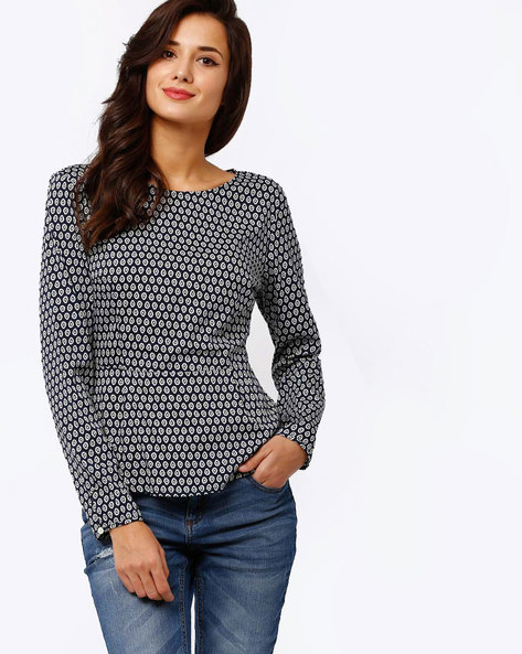 Printed Top With Cut-Out Detail By Oxolloxo ( Navyblue )