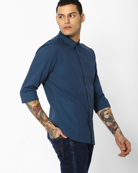 Cotton Shirt With Spread Collar By LEVIS ( Blue )