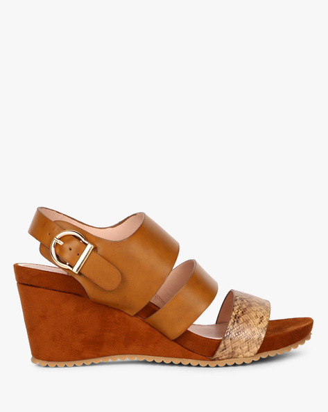 Strappy Wedges With Buckle Closure By Carlton London ( Offwhite )