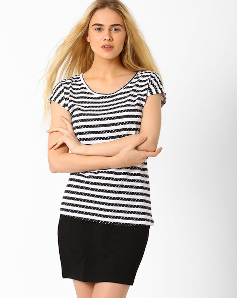 Striped T-shirt By Honey By Pantaloons ( White )