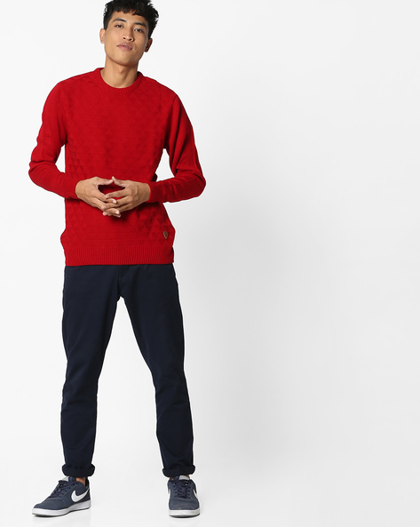 Crew-Neck Pullover With Knitted Pattern By NETPLAY ( Red )