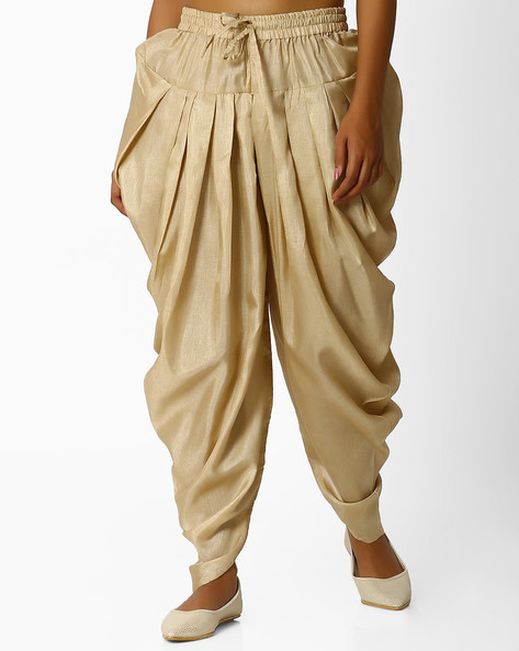 Dhoti Pants With Drawstring Waist By Melange By Lifestyle ( Gold )