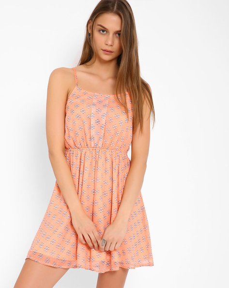 Printed Strap Dress By Oxolloxo ( Peach )