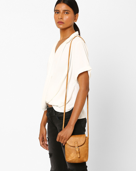 Textured Sling Bag With Buckle By Addons ( Tan )