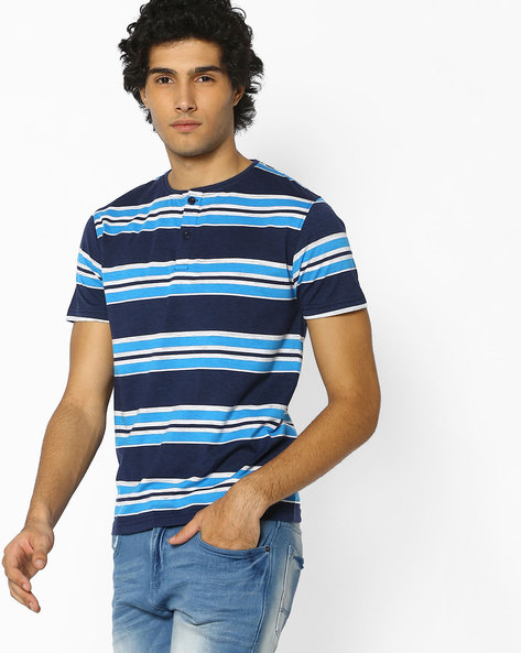 Striped Henley Cotton T-shirt By Fort Collins ( Multicolour )