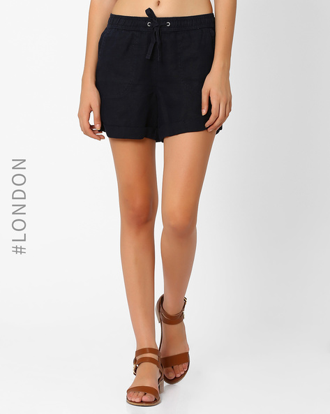 Pure Linen Shorts With Upturned Hems By Marks & Spencer ( Navyblue )