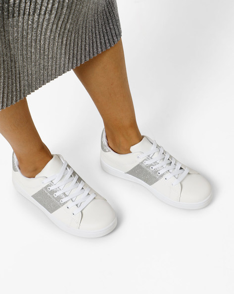 Panelled Lace-Up Shoes By Lavie ( White )