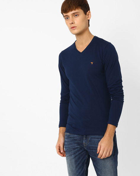 Slim Fit V-neck T-shirt By The Indian Garage Co ( Navy )