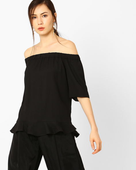 Off-Shoulder Top With Tie-Up Detail By AJIO ( Black )