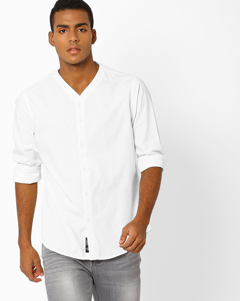 Slim Fit Shirt With Baseball Collar By Blue Saint ( White )