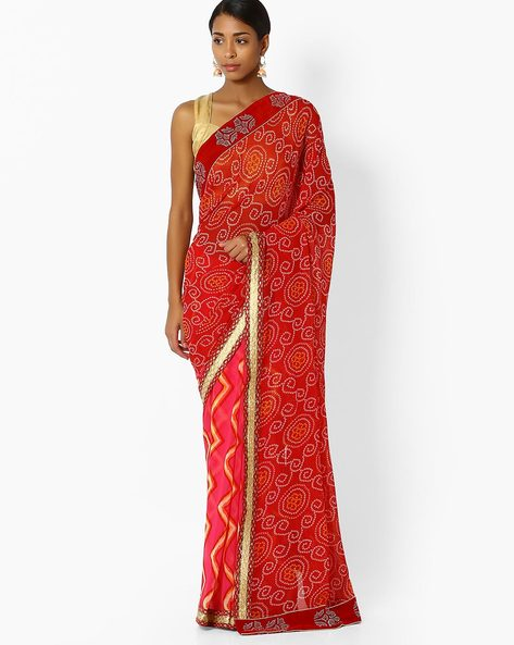 Half & Half Saree With Embroidered Border By Shonaya ( Red )