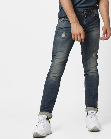 Distressed Slim Fit Jeans By WRANGLER ( Blue )