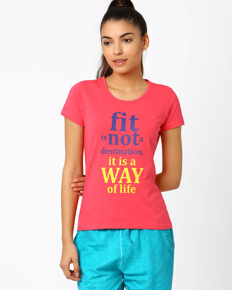 Graphic Print T-shirt By AJIO ( Pink ) - 460002623001
