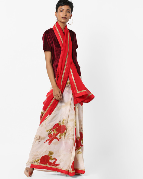Floral Print Saree With Zari Border By Florence ( Red )