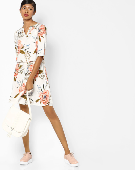 Printed Dress With Elasticated Waist By Vero Moda ( Cream )