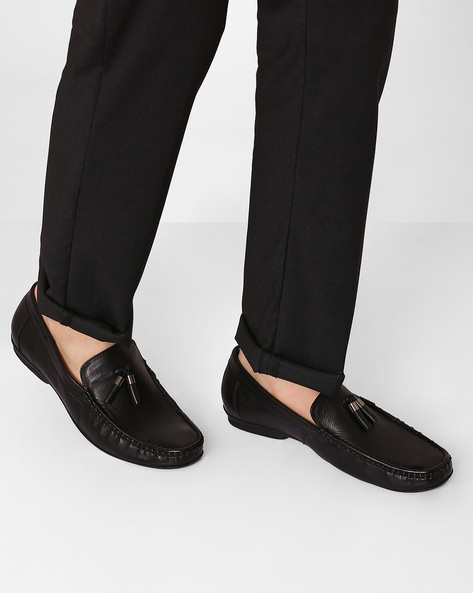Genuine Leather Tasselled Loafers By VALENTINO ( Black )
