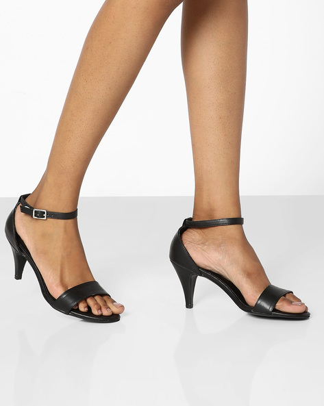 Open-Toe Stilettos With Buckle Closures By AJIO ( Black )