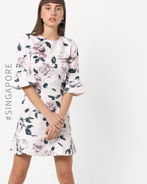 Floral Print A-line Dress With Bell Sleeves By MDS ( Blush )