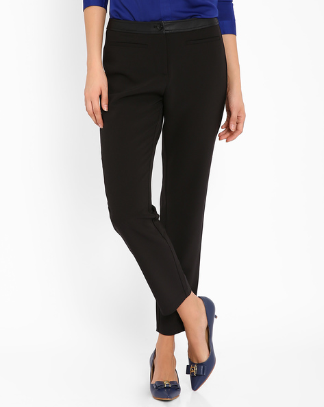 Ankle-Length Trousers By AJIO ( Black )