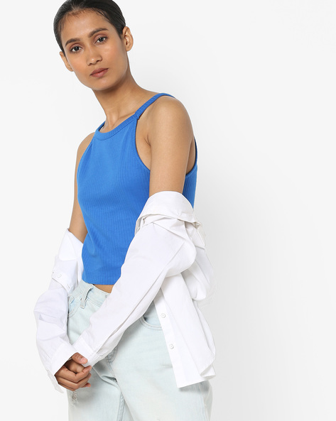Round-Neck Strappy Top By AJIO ( Blue )