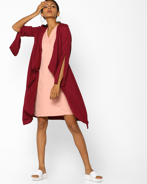 Waterfall Shrug With Tie-Up By AJIO ( Maroon )