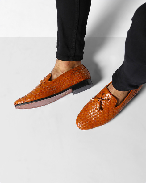 Handcrafted Woven Moccasins By Modello Domani ( Tan )
