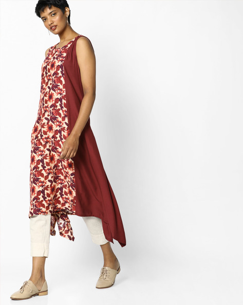 Floral Print Colourblock Kurta By Project Eve IW Casual ( Maroon )