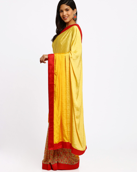 Printed Half-And-Half Saree By Viva N Diva ( Yellow )