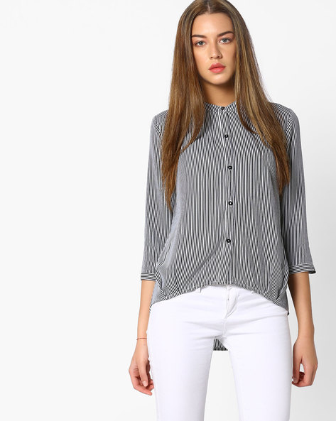 Striped Top With Tie-Up By AJIO ( Black )
