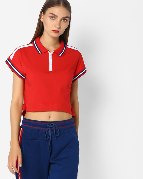 Crop Top With Polo Collar By AJIO ( Red )
