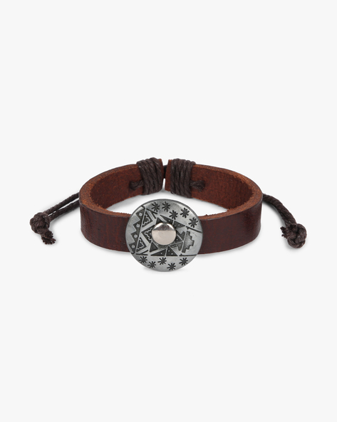 Bracelet With Metal Accent By ALPHA MAN ( Black ) - 460134289001