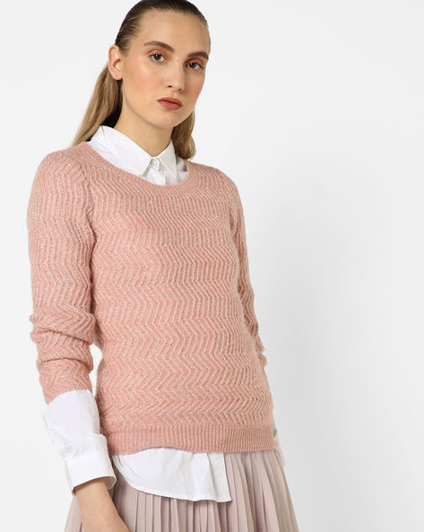 Herringbone Crew-Neck Sweater By CODE By Lifestyle ( Pink )