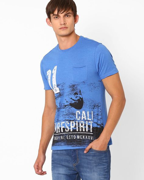 Graphic Print T-shirt With Patch Pocket By Teamspirit ( Ltblue )