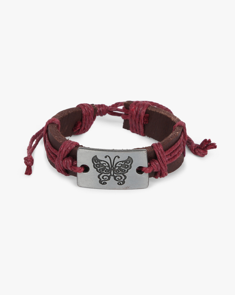 Bracelet With Metal Accent By ALPHA MAN ( Maroon )